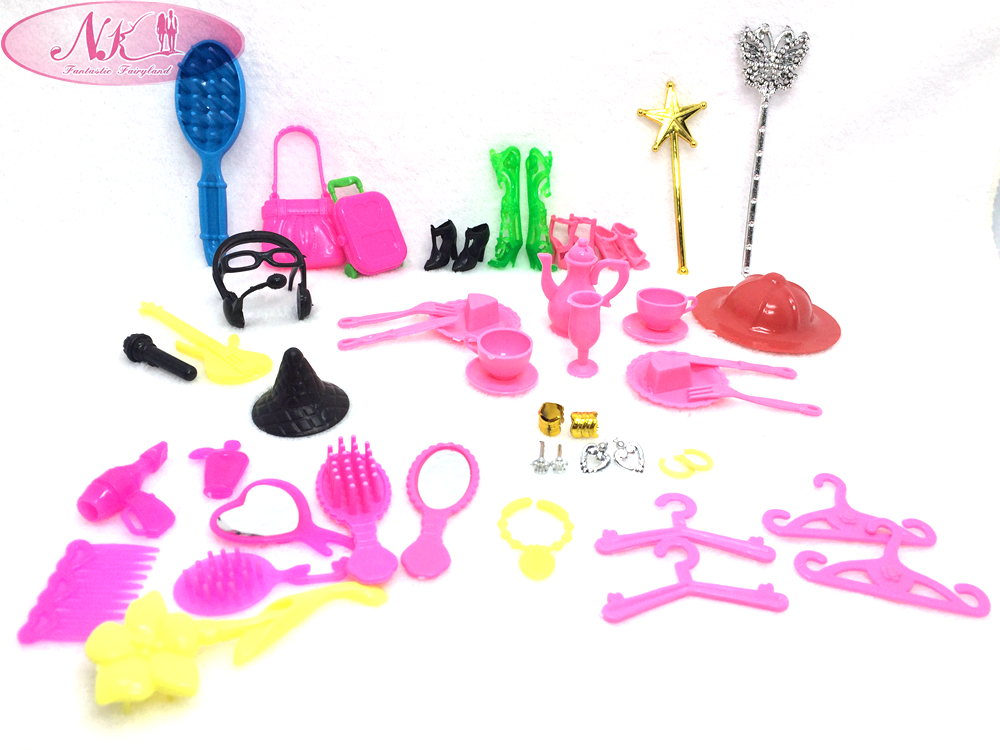 NK 50 Items / Set Doll Accessories Hangers Earphone Shoe Earring Glasses For Barbie Dolls Dress up Best Gift Packs Child Toys
