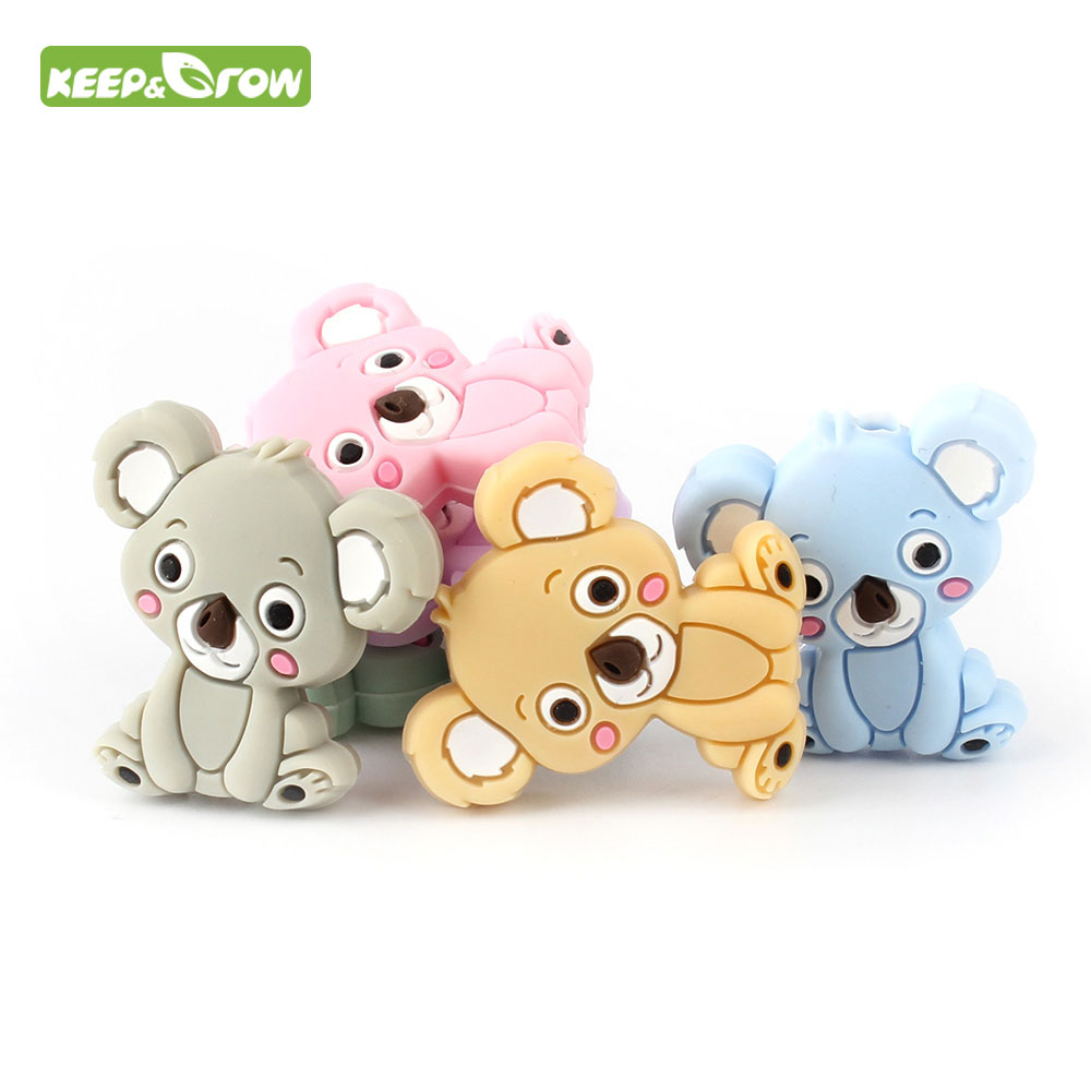 KEEP&GROW 6Pc Food Grade Koala Silicone Beads DIY Animal Baby Teether Bead Infan