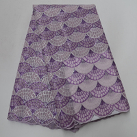 African Organza Lace Fabric Sequence Nigerian Sequins French Guipure Double Organza Lace Fabrics 5Yards