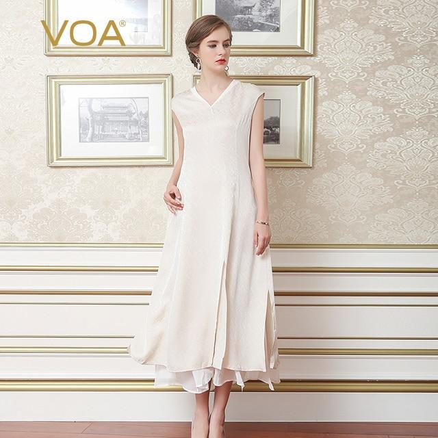 7d5e38d504dd5 VOA 2018 Summer Beige Silk Sleeveless Women Maxi Dress Plus Size V-neck  Double Layer Casual Big Pendulum Long Dress A6975