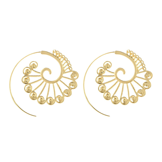Necessaries Vogue Hot Lovely New Gift Vintage Creative Round Spiral Earrings Design Gold Sliver Ear