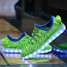 2016 New High-top Plus Size 11 Colors Unisex Led Glow Shoe Men & Women Fashion USB Rechargeable Light Led Shoes for Adults