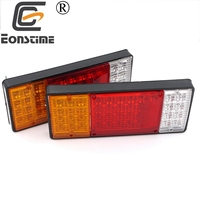 Eonstime 2pcs 12V 24V Waterproof Car Rear Lamps Truck Boat Trailer Plastic Taillight 44 LED Car