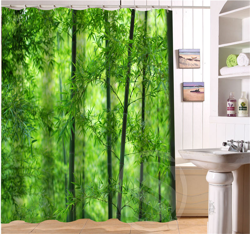 Free Shipping Bamboo Custom Shower Curtain MORE SIZE Waterproof Fabric For Bathroom SQ0427 LQ06 In Curtains From Home Garden On