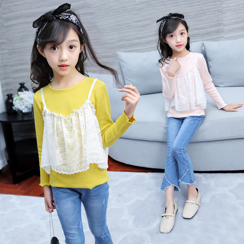 Teenage Girl Clothes Set 2018 Back To School Outfits Autumn Long Sleeve Lace Sweatshirt + Jeans Pant 2pcs Children Clothing 9 12