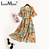 Women Summer Dress 2018 Fasion Chiffon Printing Bodycon Sashes Asymmetrical Beach Elegant Long Maxi Dresses Vestidos