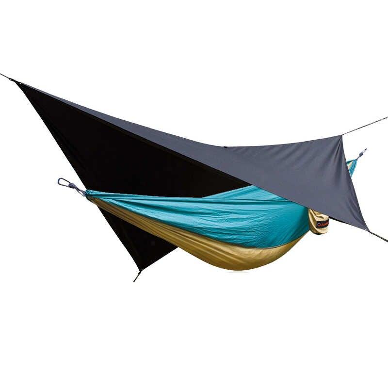 Acehmks 2 em 1 Chuva Lona Rede Acampamento Ao Ar Livre À Prova D' Água Jardim Camping Duplo Pessoa Lazer Viagens Parachute 2 Mosca da Chuva