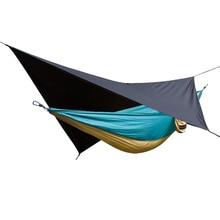 Acehmks 2 em 1 rede de acampamento ao ar livre à prova dwaterproof água chuva lona jardim acampamento duplo 2 pessoa lazer viagem pára quedas chuva voar