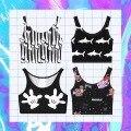 Punk Rock impressão dos desenhos animados Da Menina Do Punk retro estilo curto exposto umbilical variedade impressão colete