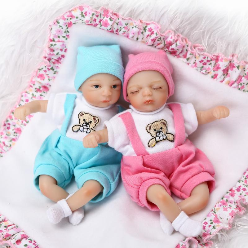 2pcs/set Reborn full silicone baby boy girl mini dolls 20 cm poupee reborn can bathe bebe alive reborn bonecas