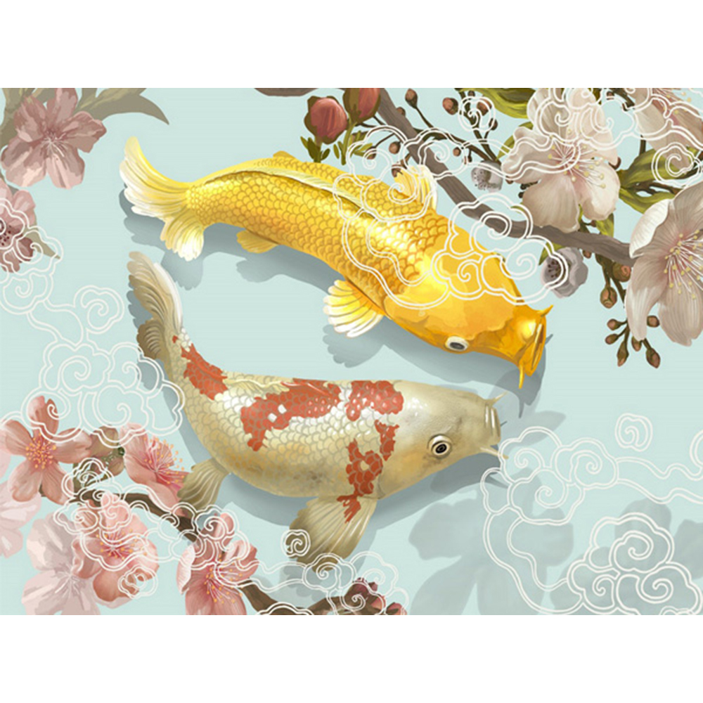 Us 2 01 54 Off Diamond Painting Animal Koi Painting Full Square Diamond Embroidery Fish Pattern Beadwork Sets Wallpaper 5d Wall Decoration A756 In