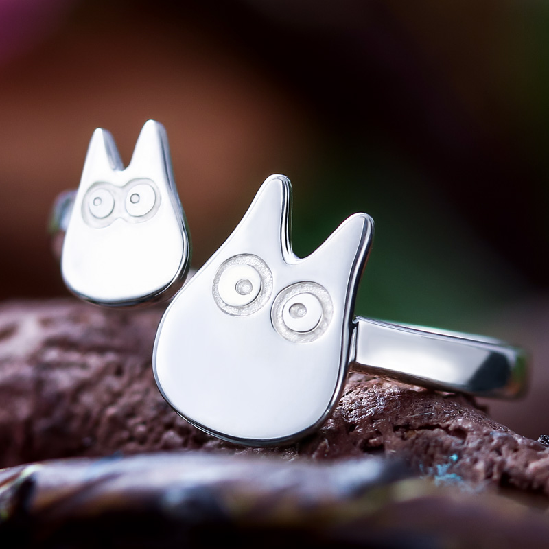 Cosplay Jewellry Cute TOTORO Ring Hayao Miyazaki Anime 925 Silver Adjustable Ring for Girls Girlfriend Christmas Gift Lovely