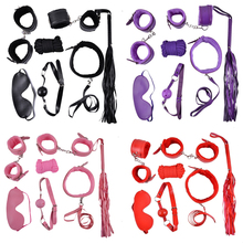 7Pcs/Set Black Soft PU Leather Handcuffs Restraint Sex Exotic Products Ankle Cuffs Bondage Slave Toys For Couple Accessories