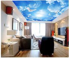 Home Decoration blue sky 3d ceiling custom 3d mural ceiling tv backdrop custom ceiling murals wallpapr 3d stereoscopic
