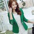 Diseñador de corea 2016 Señoras de la Oficina Verde Blazer Feminino Mujeres Formal Blazers y Chaquetas Elegantes Americanas Bleiser Abrigos Mujer