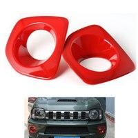 1 çift kırmızı ABS araba ön sis farları lamba kapağı Trim Panel dekorasyon için Jimny 2012-2015 araba Styling araba aksesuarları kapakları