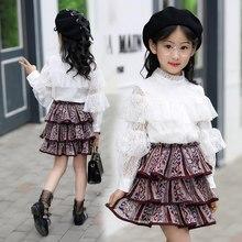 7e420260d3f 2018 комплект детской одежды сезон  весна–лето модная одежда для девочек  кружевное шифоновое костюм женский дети милые топы + мн.