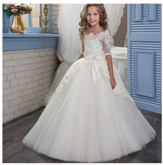 Girl's Formal Dress 2017 Long Sleeve Flower Girls Princess Dresses Kids Lace Party Birthday Ball Gowns Children's Wedding Dress