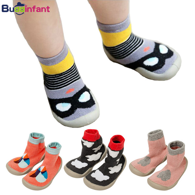 Toddler Baby Boy Warm Sock Shoes Rubber Soles Soft Cotton Socks Anti Slip Cartoon Infant Girls Shoe Socks Warm Terry Slippers
