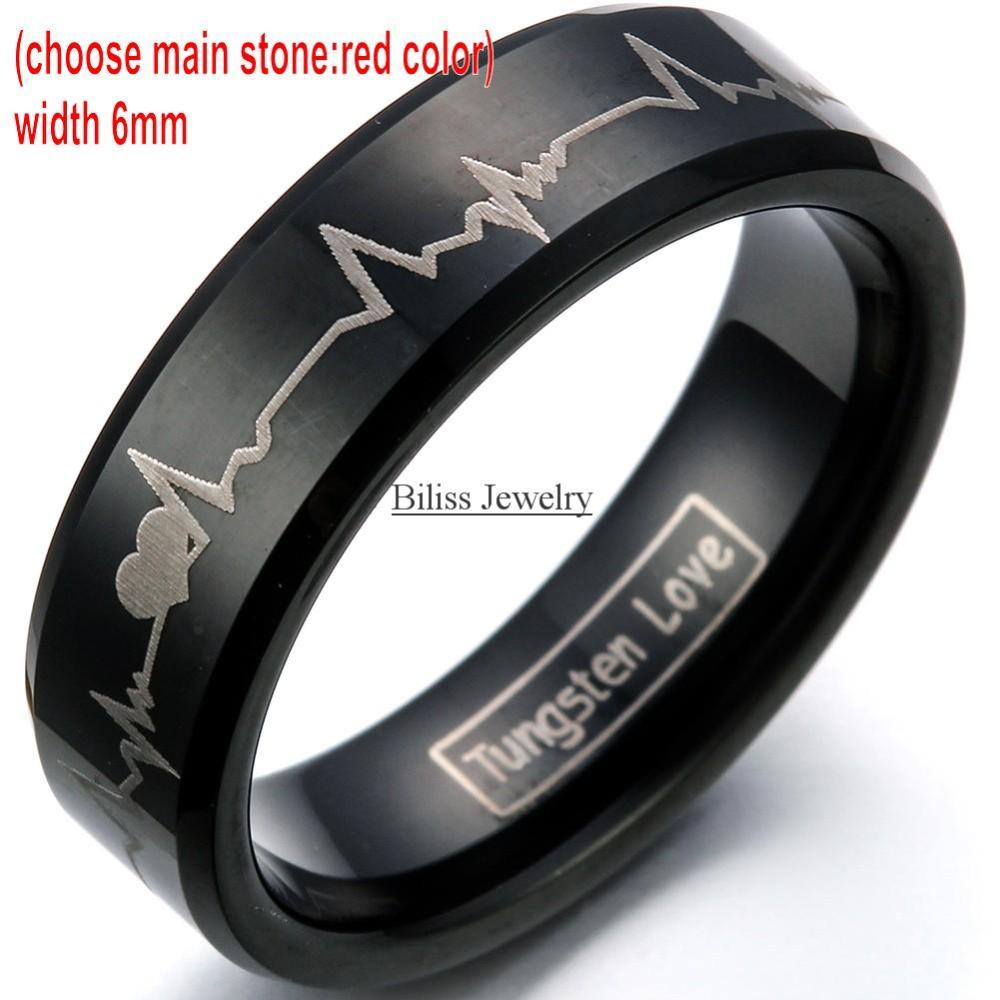 Fashion Black Tungsten Carbide Ring With Laser Engraved Forever Love Men Women Wedding Rings Size 4-17 -blue-8mm/red-6mm -1PCS