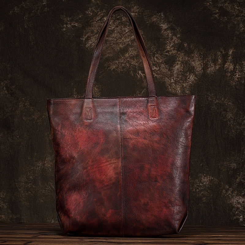 Genuine Leather Tote Women Bag Vintage Brush Color Cowhide Shopping Top Handle Shoulder Bags Leisure Large Capacity HandbagGenuine Leather Tote Women Bag Vintage Brush Color Cowhide Shopping Top Handle Shoulder Bags Leisure Large Capacity Handbag