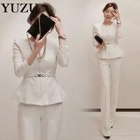 White Pants Suit Women Winter Suits Zipper Office Two Piece Set With Belt Jacket High Waist