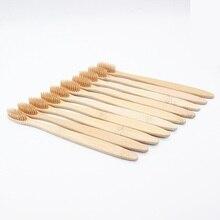 Brosse à dents en bois de bambou, outil environnemental dentaire et dentaire, manche en fibres végétales, blanchiment des dents, vente en gros, 20 pièces