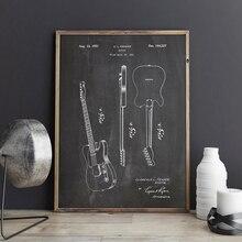 Электрическая гитара патент принты Fender вещатель стены искусства плакаты музыкальный Декор винтажная схема подарок идея украшения стены