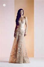 2015 Ziad Nakad Luxury Vestido De Festa Sheer Neckline Long Sleeve Applique Tulle Evening Dress