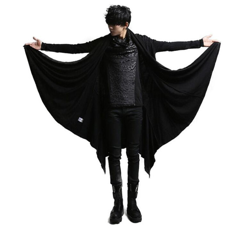 2019 Men Black Long Punk Rave Steampunk Mens Gothic Coat Cloak Hip Hop Stage Mens Vintage Windbreaker