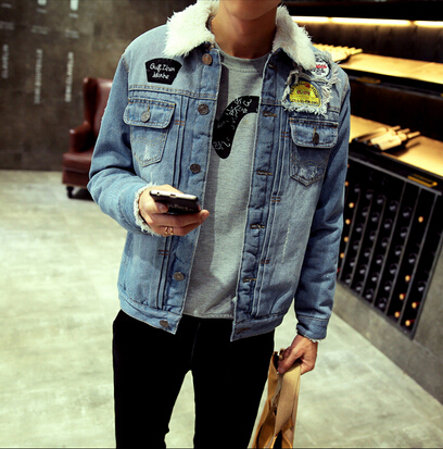 eb43d794cfb1f Men Denim Jacket with Fur 2015 Winter Faux Fur Jeans Jackets and Coats  Casual Warm Blue Single Breasted Denim Chaqueta Hombre