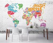 beibehang Custom 3d wallpaper mural Brick pattern world map decorative painting background wall wall papers home decor wallpaper home decoration 3d landscape wallpaper stone wall flower lilac flower decorative painting decorative brick wall
