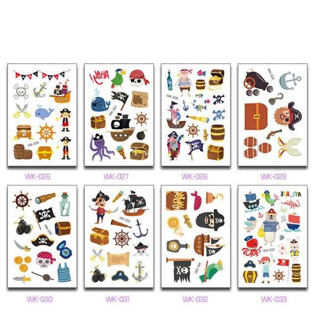 10 sheets/set kawaii kids 해적 문신 해적 스티커 만화 파티 용품 장식 어린이 파티 호의