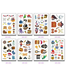 Juego de 10 hojas de pegatinas de pirata Kawaii para niños, pegatina de pirata, decoración de fiesta de dibujos animados