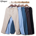 QSuper Men Linen Cotton Pants Loose Trousers Lightweight Drawstrings Casual Swag Clothing Men Sweatpants Brand Clothing