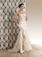 Custom Made New High Quality Fashion Sexy Lace Organza Flower Beading Mermaid Wedding Dress Bridal Gown