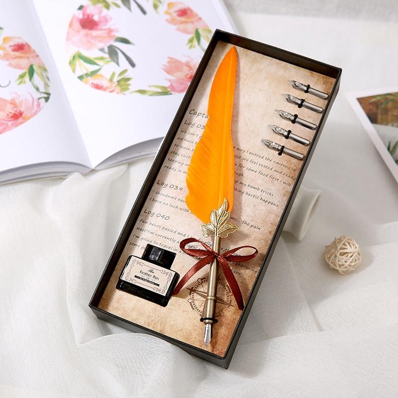 Креативный подарок на день рождения винтажная перьевая ручка европейский стиль перьевая ручка Подарочная коробка набор пишущий Dip черниль...