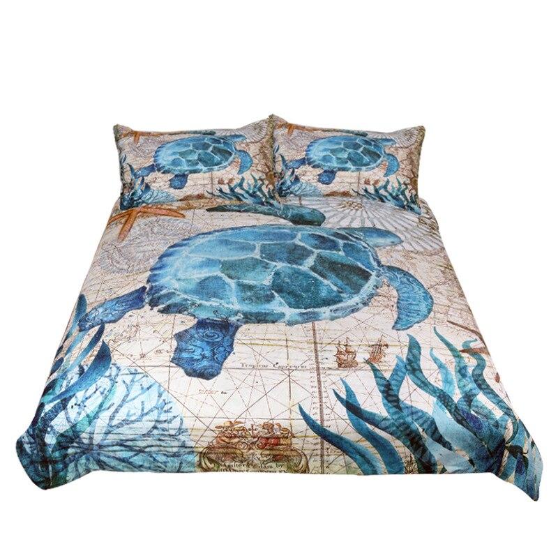 Ensembles de literie Textiles de maison algues Marine vie imprimé double reine roi taille 3 pièces haute qualité housse de couette drap plat taie d'oreiller