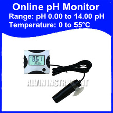 Free Shipping Mini PH Temperature Meter Monitor Aquarium Power Supply 6V DC (include) with adaptor