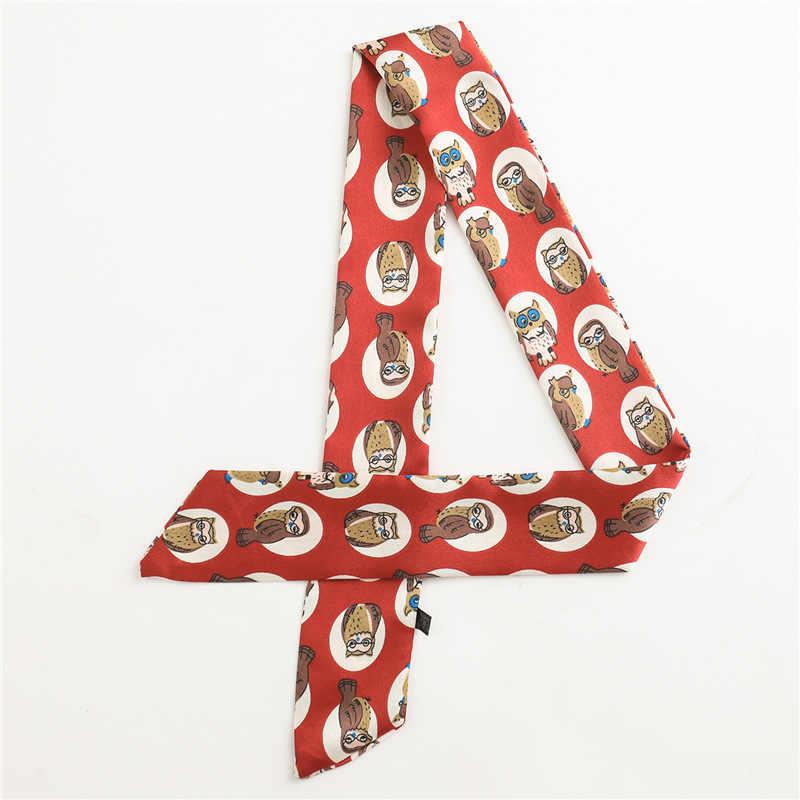 2019 ผอมบางผ้าพันคอผ้าพันคอสำหรับสตรีขนาดเล็กขนาดยาวผ้าไหมคอผมผ้าพันคอพิมพ์ริบบิ้นหัวผ้าพันคอ