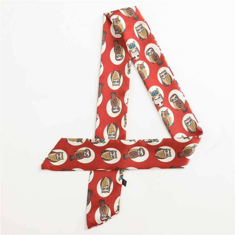 2020 Skinny Thin Scarf For Women Small Long Size Silk Feeling Neck Hair Scarves Print Bag Ribbons Head Scarfs