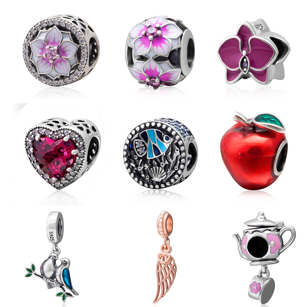 Beads 2017 New Original 925 sterling silver Enamel Charms Fit Pandora charm bracelets Fashion DIY Jewelry