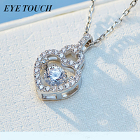 EYE TOUCH Dancing Stone Necklace Women Pendants Austrian Rhinestone Charm S925 Sterling Silver Jewelry Fashion White