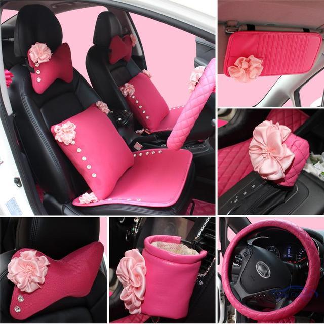 Ragazze donne accessori auto interni rosa rosa set uso universale