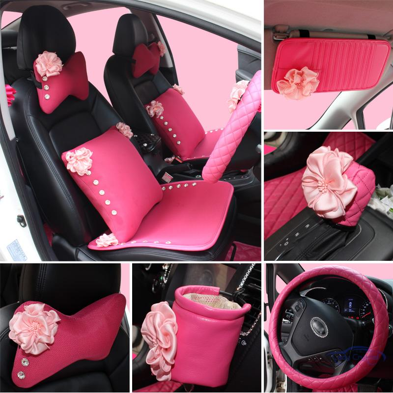 Girls Women Car Accessories Interior Pink Rose Set Universal Use In Automobiles Seat Covers
