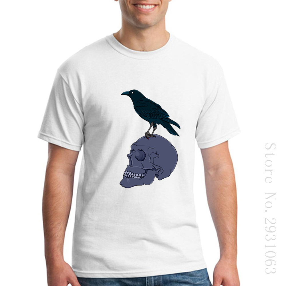 Shirts human design - Male 100 Cotton Raven On A Human Skull Summer Style Cool Shirts Hot Cheap Short
