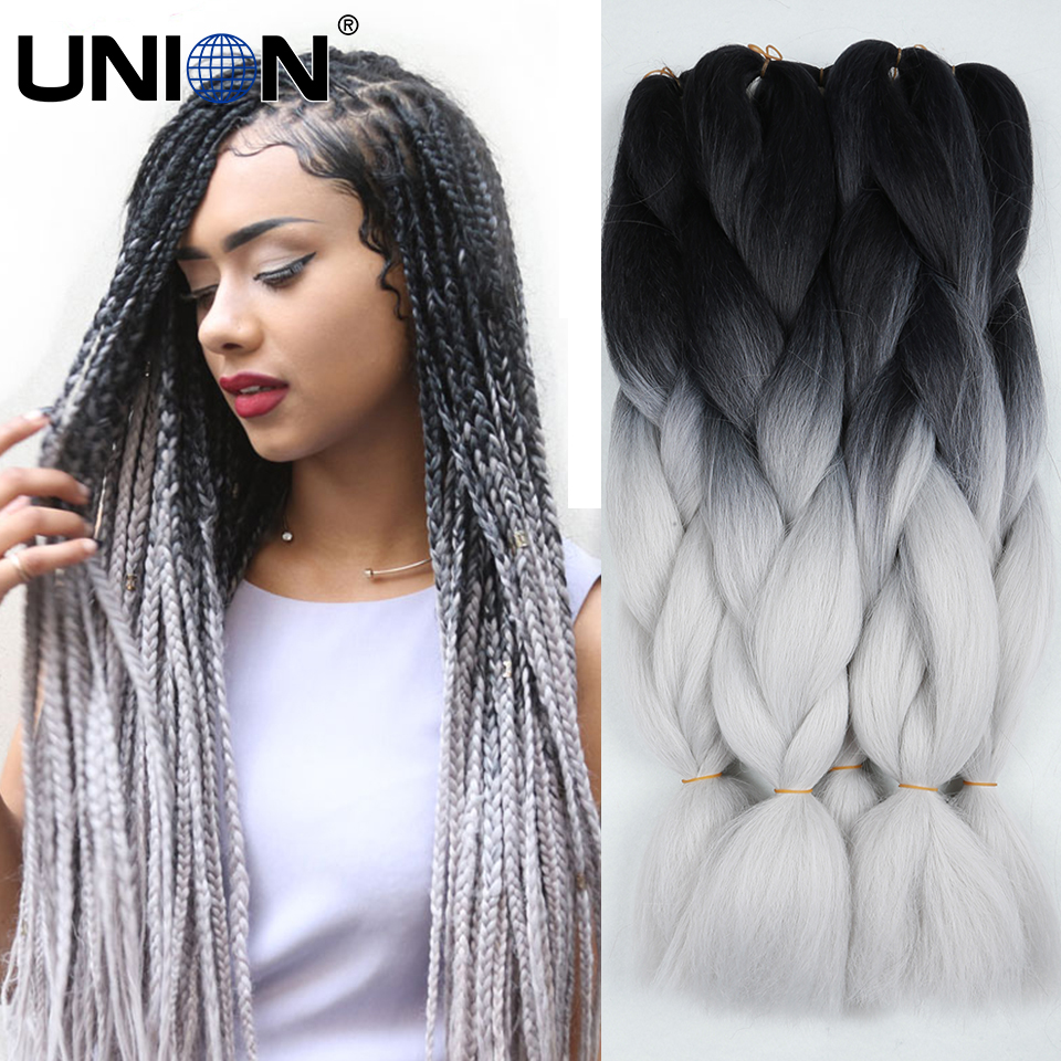 Crochet Box Braids Grey : tone black grey braiding hair extension synthetic crochet box braids ...