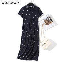 WOTWOY Print Turn-down Collar Polo Dresses Women 2019 Spring Cotton Casual Straight Ankle-Length Tee Shirt Dress Female Pockets