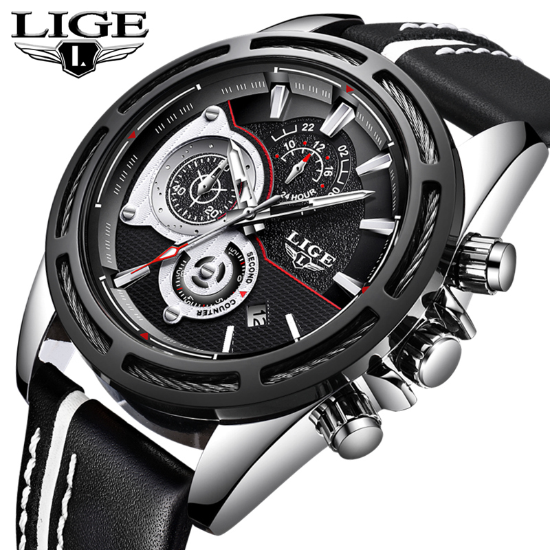 LIGE Fashion Mens Watches Top Brand Luxury Chronograph Leather Quartz Watch Men Casual Waterproof Sport Watch Relogio MasculioLIGE Fashion Mens Watches Top Brand Luxury Chronograph Leather Quartz Watch Men Casual Waterproof Sport Watch Relogio Masculio