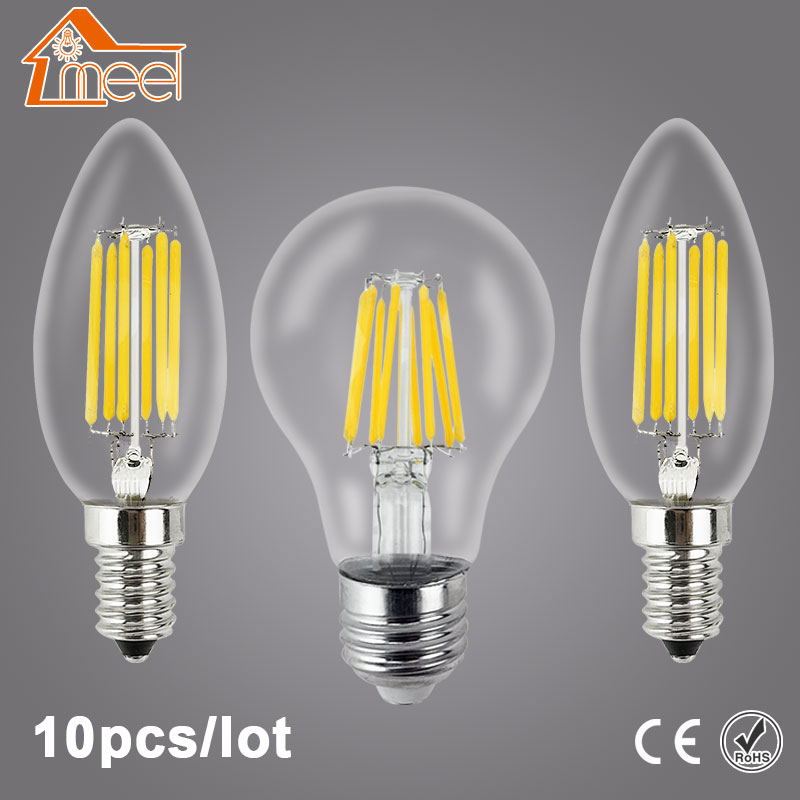 10Pcs LED Lamp 220V E27 E14 LED Filament Light Lamp 2W 4W 6W 8W Vintage Edison Bulb Candle Glass Led Specialty Decorative Light